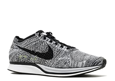 premium selection e8c12 0b25d Image Unavailable. Image not available for. Color  Nike Mens Flyknit Racer  White Black-Volt Fabric Size 7