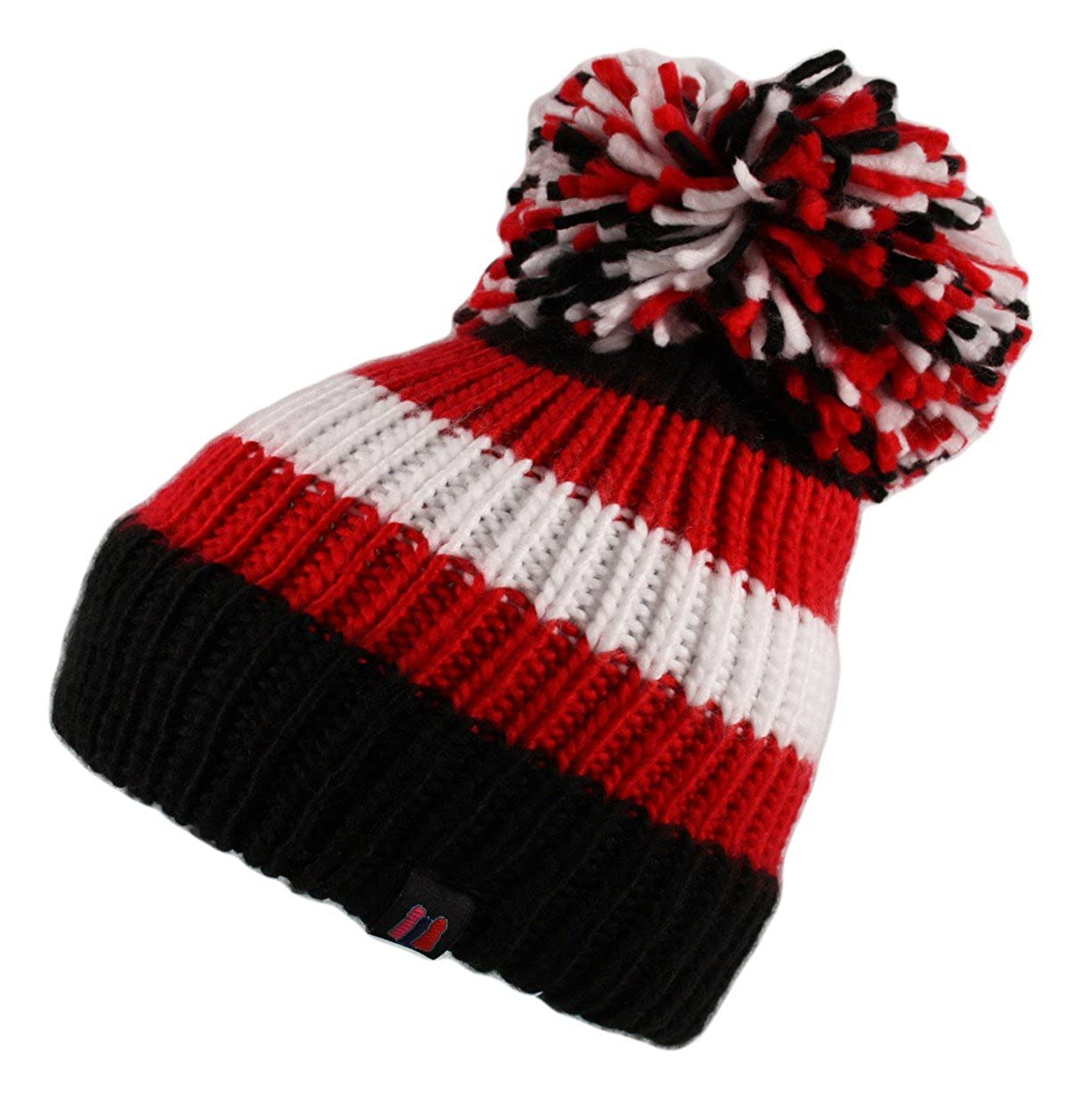8ba77d1fb80 Itzu Big Bobble Stripe Ribbed Beanie Hat Cap Marl Knitted Pom Pom Roll Turn  Up in Black Red White  Amazon.co.uk  Clothing
