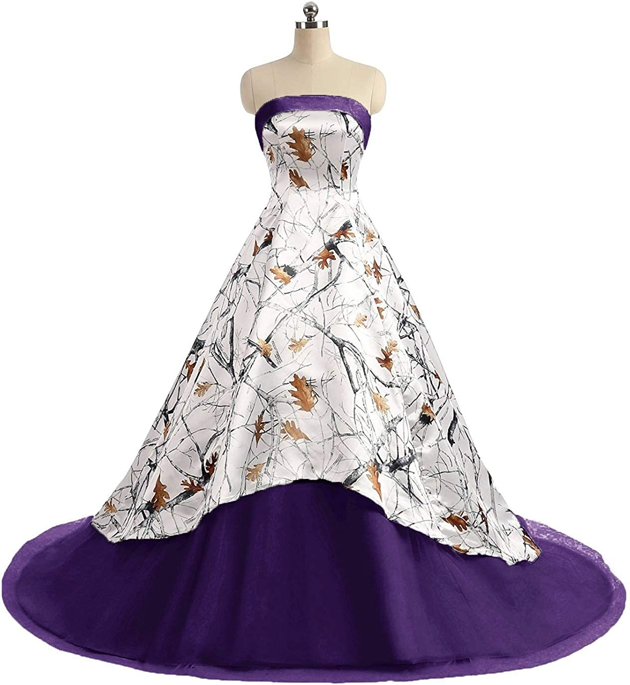 Purple Jingliz Camo Wedding Dresses Strapless Tulle Ball Gown Long Prom Quineceaneara Dress