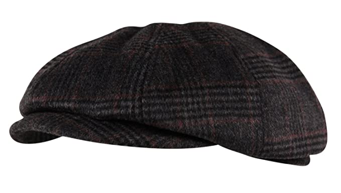 0d1effe44689 Luxury Brushed Wool Flannel 8 Panel Flat Cap Hat Ear Flap Baker Boy Tweed  Check Charcoal