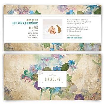 Einladungen (60 Stück) Zur Taufe Vintage Blumen Aquarell Geburt  Einladungskarten Mit Foto