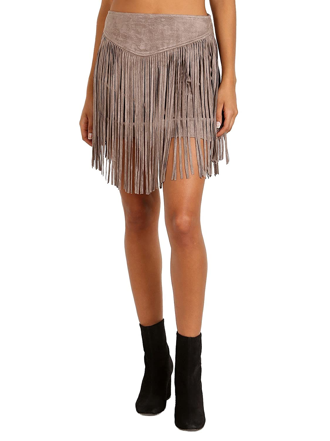 24838d55f3 durable service Show Me Your Mumu Rancho Fringe Skirt Taupe Suede ...