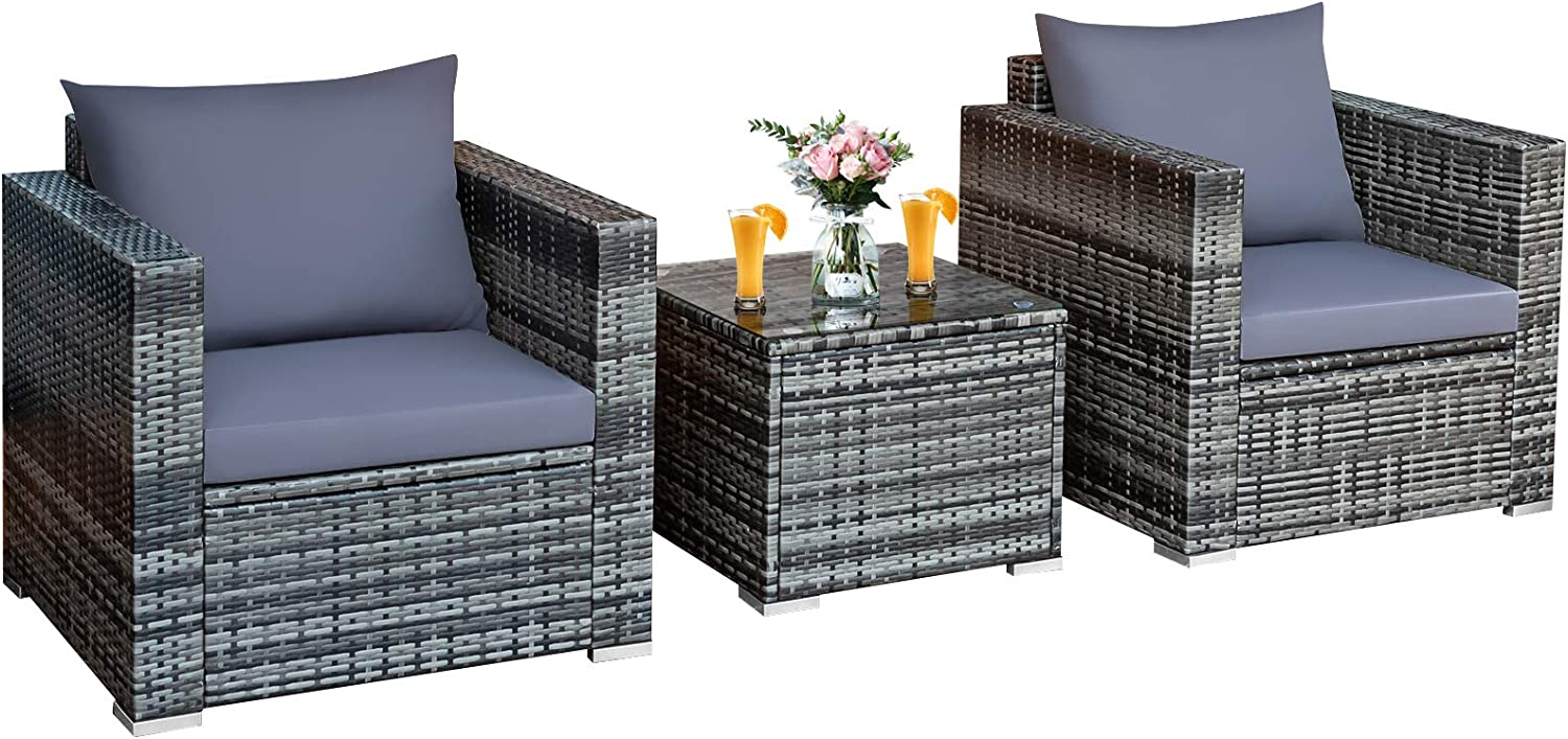 Tangkula 3 Pieces Patio Furniture Set, PE Rattan Wicker Sofa Set w/Washable Cushion and Tempered Glass Tabletop, Outdoor Conversation Furniture for Garden Poolside Balcony (Mix Grey)