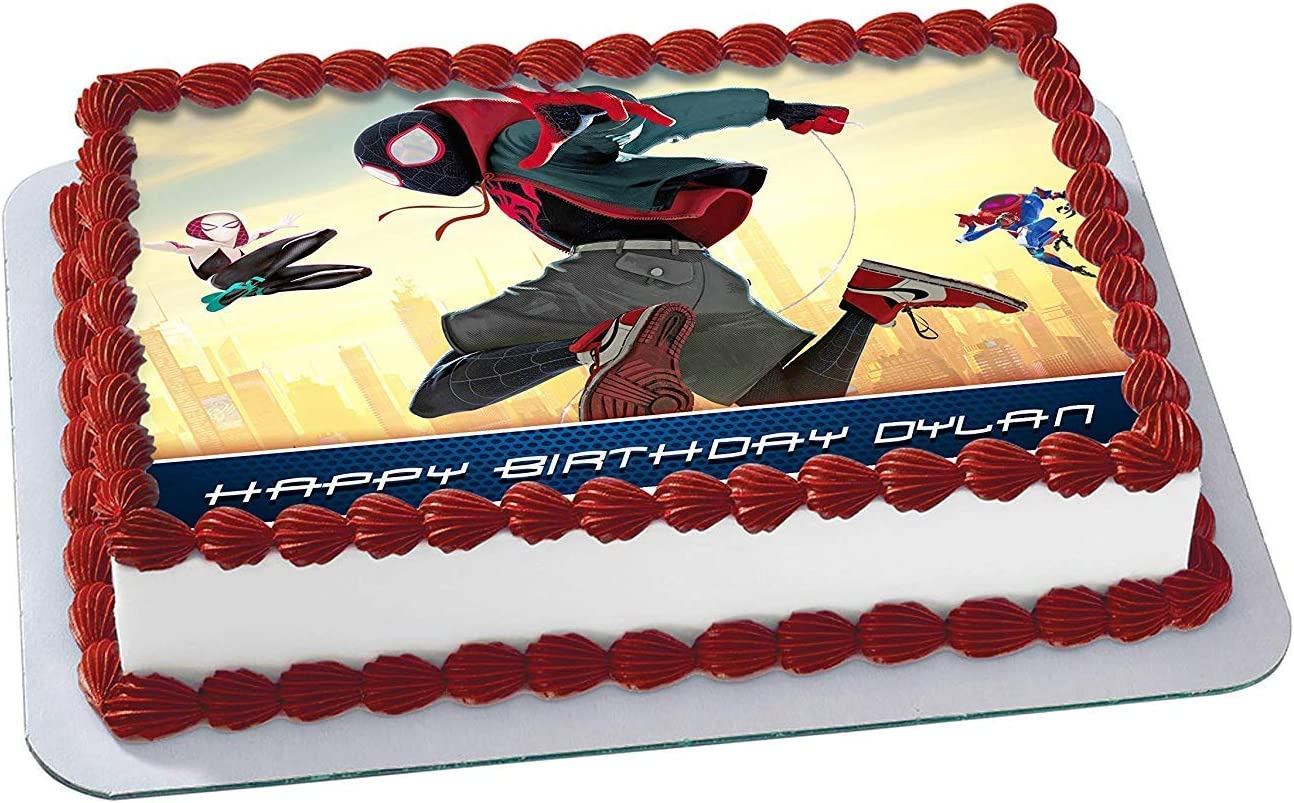 Fantastic Amazon Com Spider Man Into The Spider Verse Edible Cake Image Funny Birthday Cards Online Barepcheapnameinfo