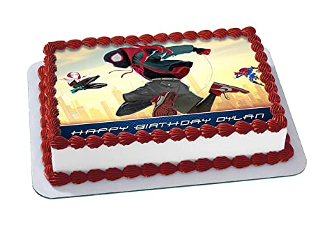 Amazon Com Spider Man Into The Spider Verse Edible Cake Image