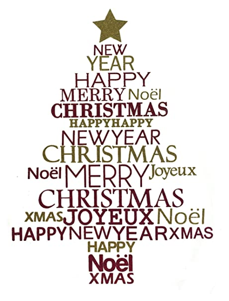 Christmas Words.Amazon Com Festive Productions Tree Shape Wall Sticker With