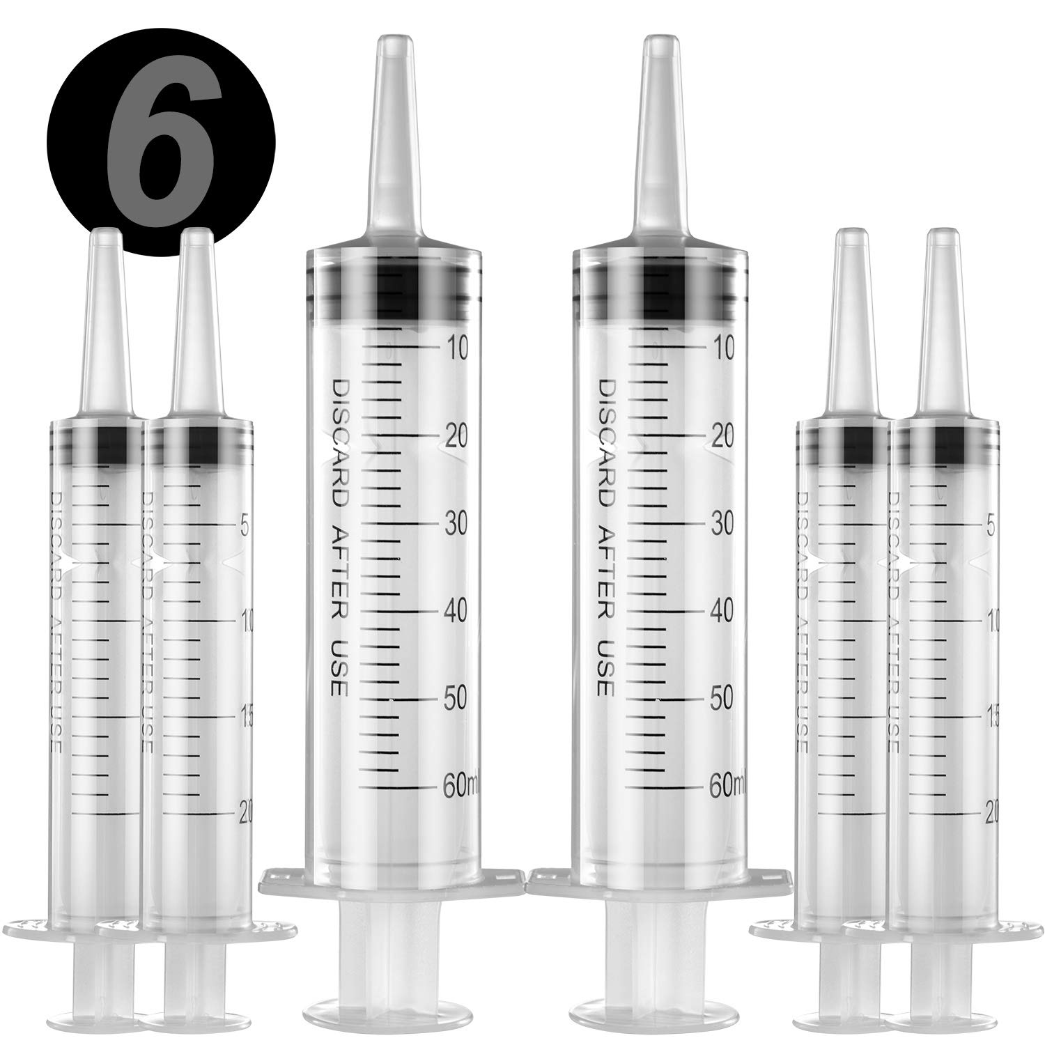 6 Pack Large Syringes, Large Plastic Garden Industrial Syringes for Scientific Labs, Measuring, Watering, Refilling, Filtration Multiple Uses (20 ML, 60 ML)