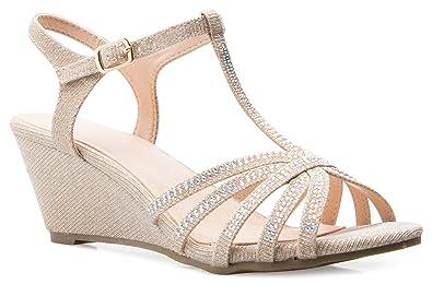 e55ba7dae5911 OLIVIA K Women s Open Toe Glitter Shimmer T-strap Cage Low Heels Wedge  Sandal
