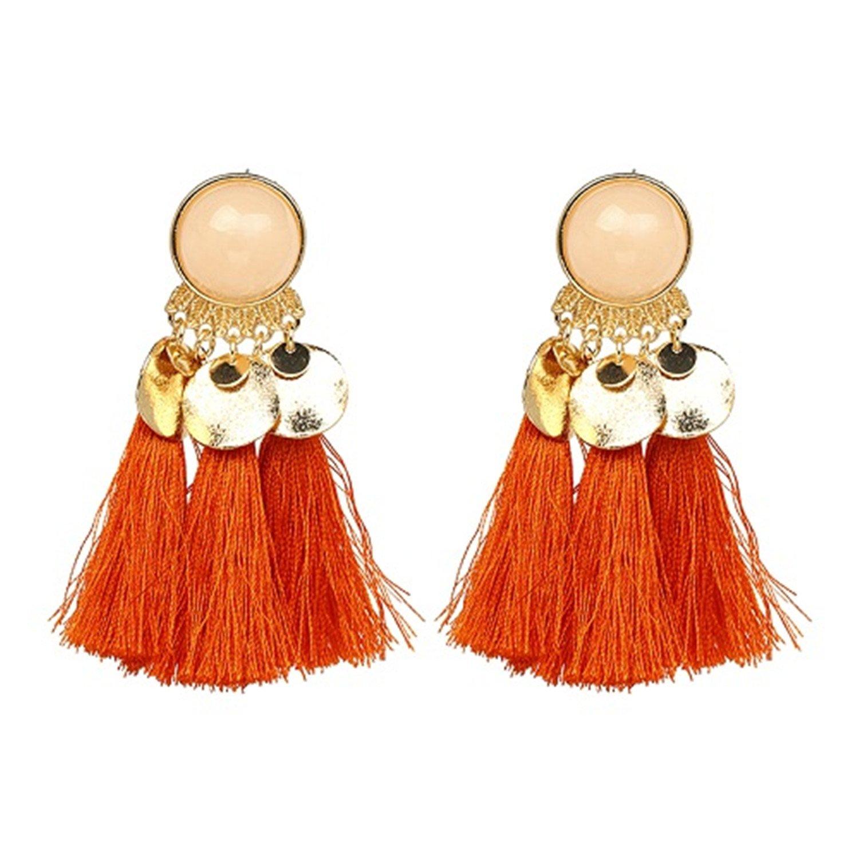 Tassel Drop Earring Jewelry Elegant Tassal Earrings Women Fringing Fringe Earrings Orange