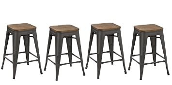 Prime Btexpert 24 Inch Metal Vintage Antique Style Gunmetal Counter Height Bar Stool Modern Handmade Wood Top Seat Set Of 4 Barstool Gmtry Best Dining Table And Chair Ideas Images Gmtryco