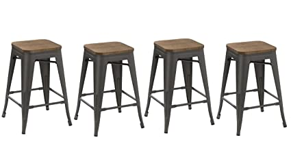 Excellent Btexpert 24 Inch Metal Vintage Antique Style Gunmetal Counter Bar Stool Modern Handmade Wood Top Seat Set Of 4 Barstool Lamtechconsult Wood Chair Design Ideas Lamtechconsultcom