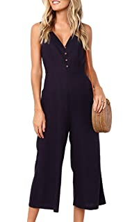ad4c209788f0 ECOWISH Womens Jumpsuits Casual Button Deep V Neck Sleeveless High Waist  Wide Leg Jumpsuit Rompers with