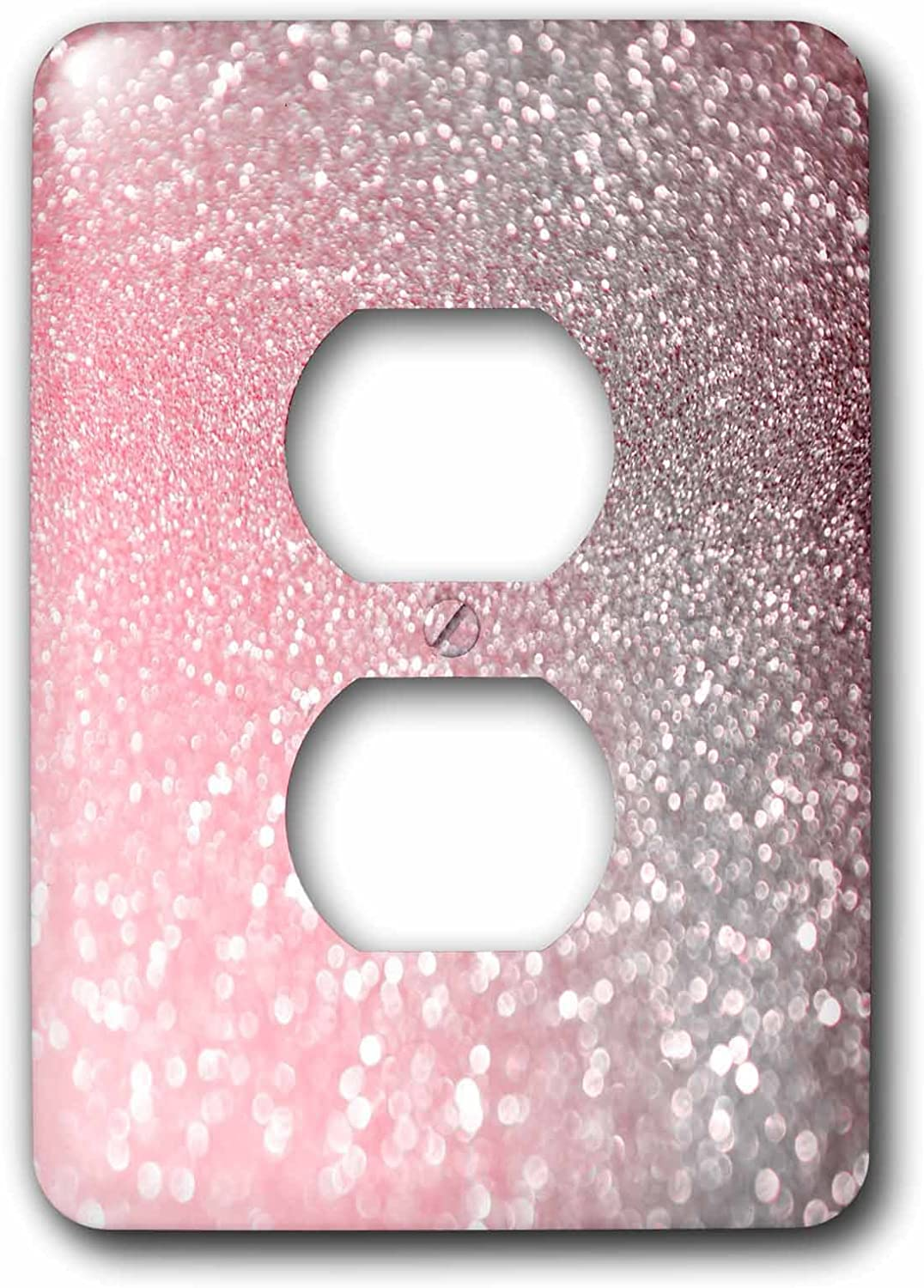 3dRose lsp_268847_6 Luxury Sparkle Pink Rose Gold Metallic Faux Glitter Print Plug Outlet Cover, Mixed