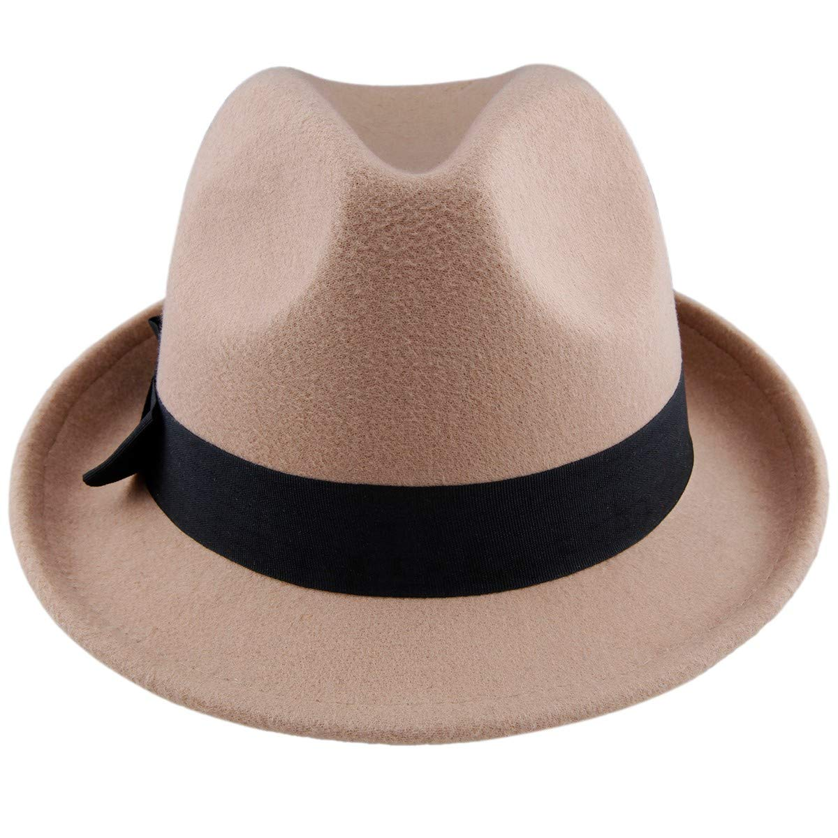 Samtree Fedora Hats for Women,Winter Roll-up Brim Trilby Woolen Jazz Cap(Tan)