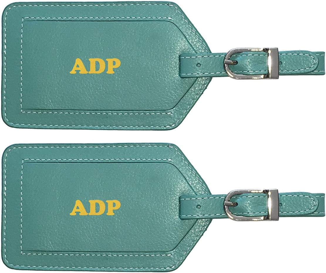 2 Pack Personalized Monogrammed Cobalt Blue Leather Luggage Tags