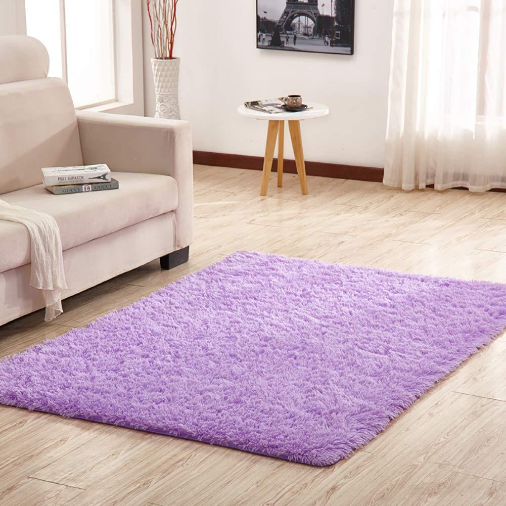 ふかふかラグ、スーパーソフトふわっと居間寝室の子供部屋用ダイニングルームの滑り止めカーペット-紫色-200×300センチメートル(79×118インチ) B07RTNGRLL 紫色 200×300センチメートル(79×118インチ)