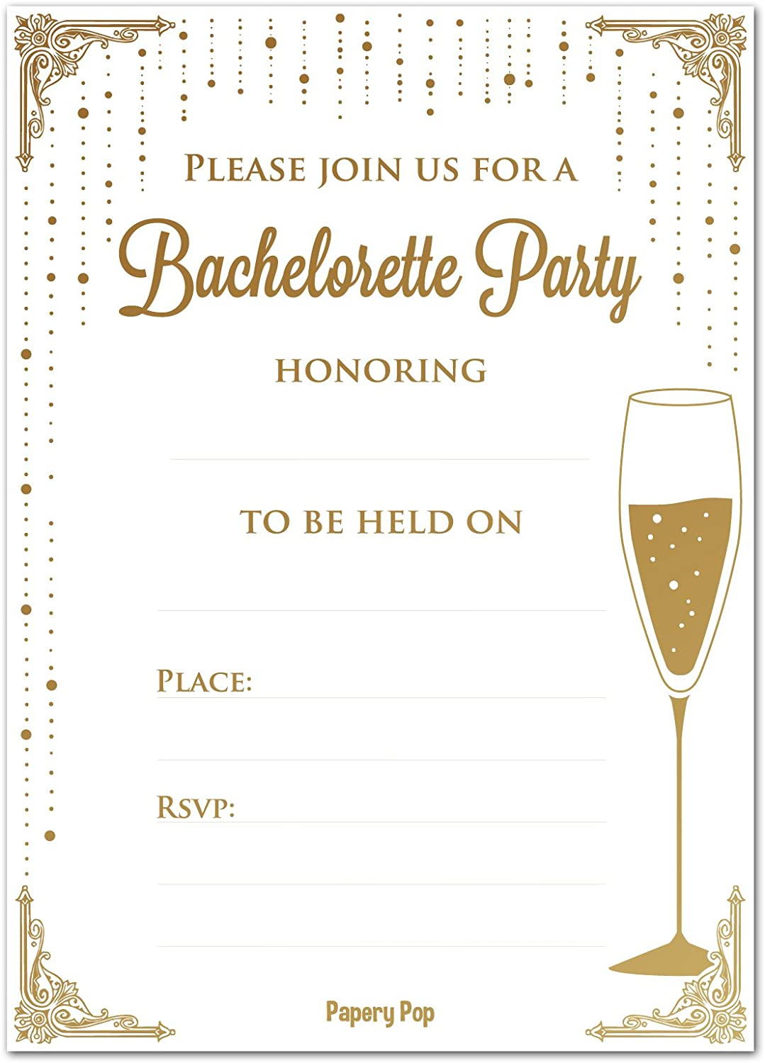 Bachelorette Party Invitations with Envelopes 15 Count Girl's Night Out Bridal Shower Hen Party Wedding Celebration Cards