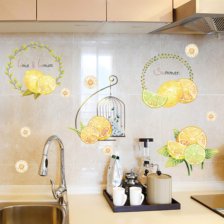 QIAO Fresh Lemon Peel&Stick Home Room Kitchen Decor Lime&Lemon Bathroom Tile Stickers Self-Adhesive Lemon Door Decor Wall Stickers Wall Art Decor for Teen Girl Kids Bedroom Living Room
