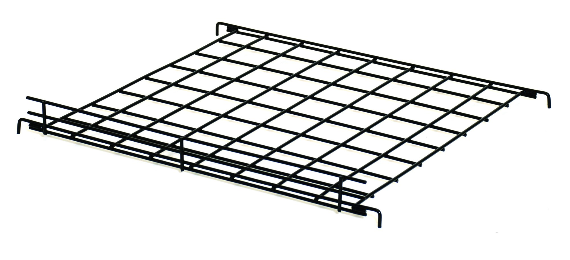 KC Store Fixtures A04905 Flat Grid Shelf, 24'' W x 24'' D with 2'' Lip, Black (Pack of 6)