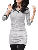 sourcingmap® Femme À Manches Longues Col V Haut Ligné Détail Fin T-shirts