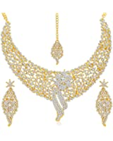 Sukkhi Gold Plated Australian Diamond Choker Necklace With Drop Earrings And Mangtikka Set For Womesn