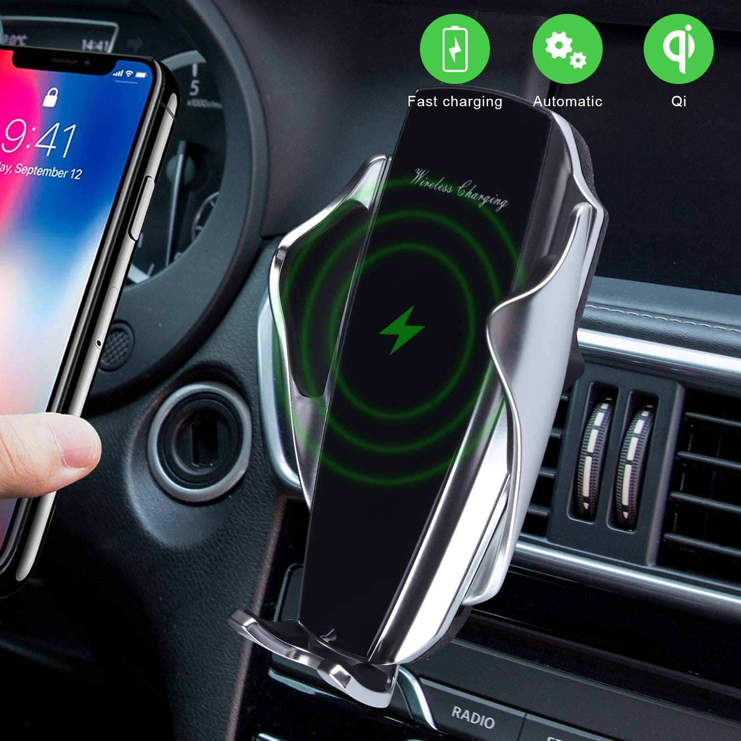 ,Samsung S10//S1 Wireless Car Charger KALENI 10W Qi Fast Charging Auto Clamping Car Mount Windshield Dashboard Air Vent Phone Holder With Touch Sensing Compatible With iPhone 11//11 Pro//11 Pro Max//Xs