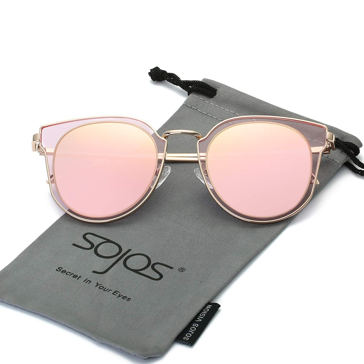 SOJOS Fashion Polarized Sunglasses for Women UV400 Mirrored Lens SJ1057 with Rose Gold Frame/Pink Mirrored Lens