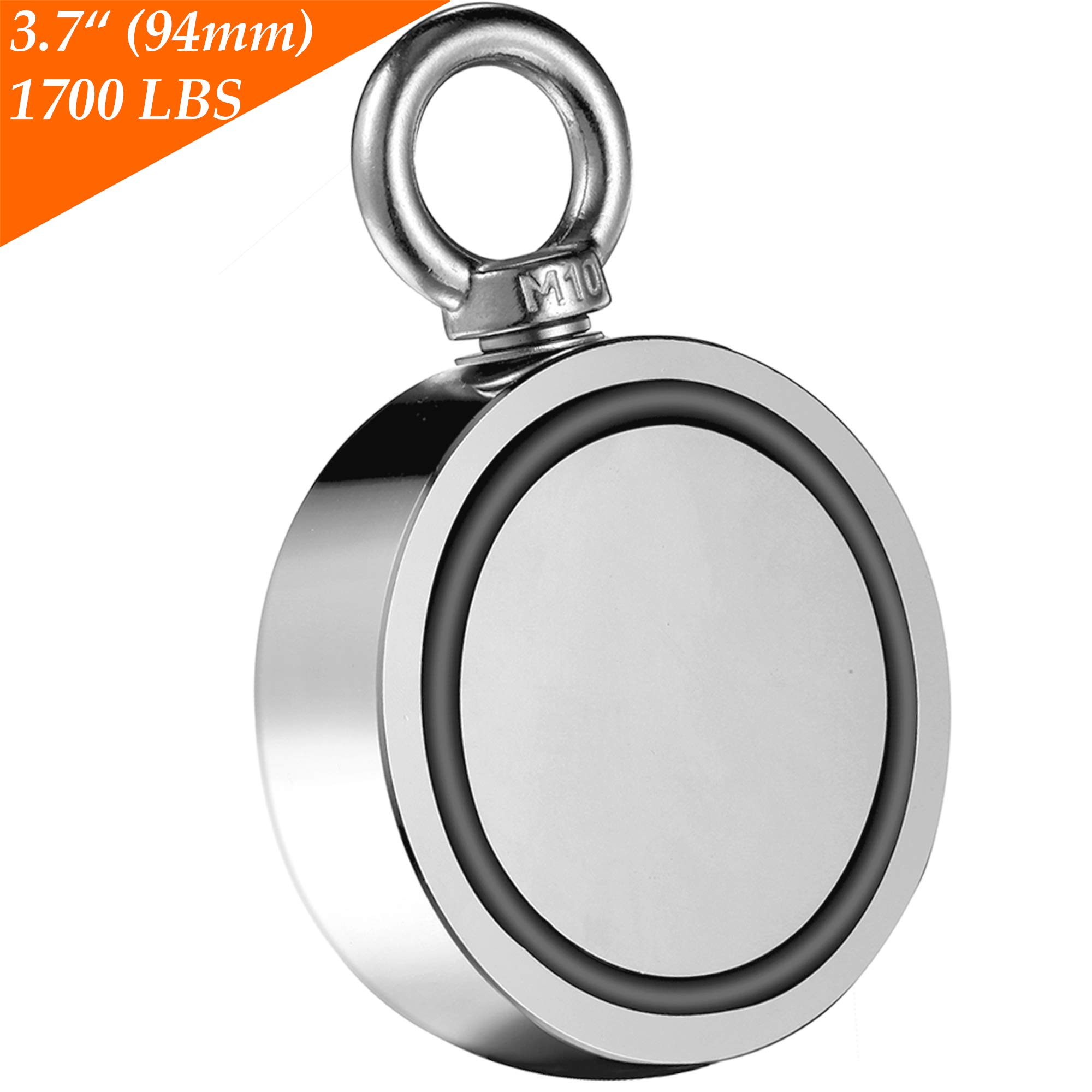 Wukong Fishing Magnet Double Sided Neodymium Magnet with Eyebolt, Combined 1700 LBS Pulling Force Super Strong Magnet for Magnetic Fishing, Treasure Hunting Underwater - 3.7'' Diameter