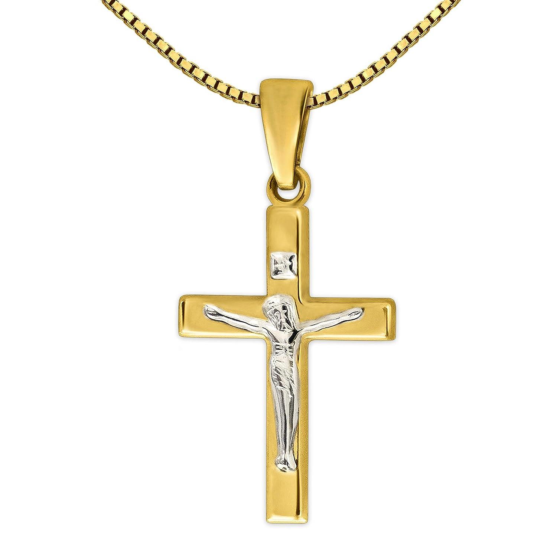 CLEVER SCHMUCK Set Goldener Mini Anhänger Jesus Kreuz 17 mm glänzend Bicolor 333 Gold 8 Karat mit vergoldeter Kette Venezia 36 cm ahg992bicolor-v36verg