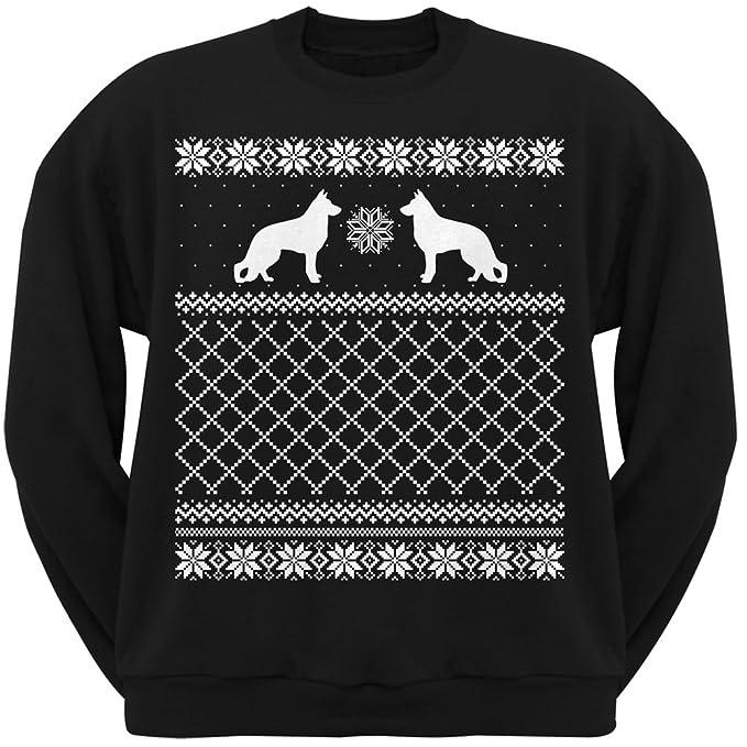 animal world german shepherd black adult ugly christmas sweater crew neck sweatshirt small