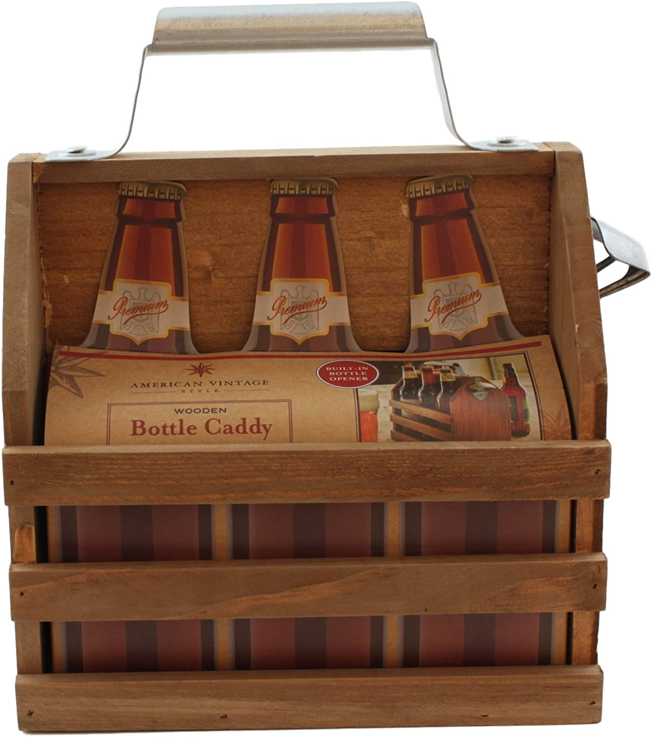 American Vintage Style Wooden Bottle Caddy with Built-In Bottle Opener