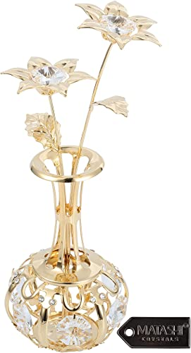 Mothers Day Gift – Sun Flowers In vase Ornament Dipped in 24K Gold Crafted with Stunning Clear Crystals, Comes in Luxury Packaging Great Gifts idea for Mom from Daughter, Son by Matashi