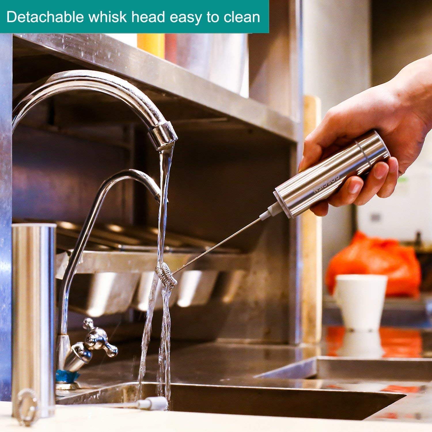 Milk Frother Handheld Foam Maker Portable Drink Mixer with 2 Whisk Head and One Storage Tube Stainless Steel