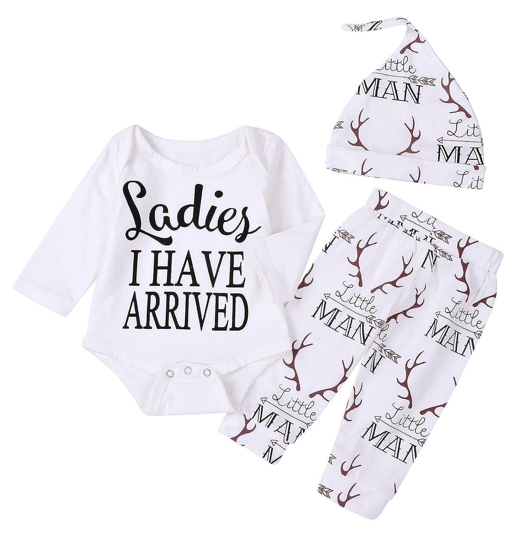 Imsmart Newborn Suit for Baby Shower Deer Print Long Sleeve Romper Long Pants Hat
