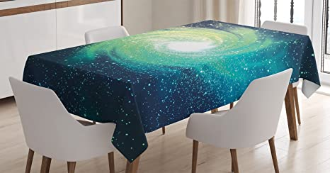 Amazon Com Ambesonne Home Decor Tablecloth Outer Space Themed Image Spiral Galaxy Stardust With Light Astromony Cosmos Milkway Stars Dining Room Kitchen Rectangular Table Cover 60 X 84 Inches Navy Teal Home