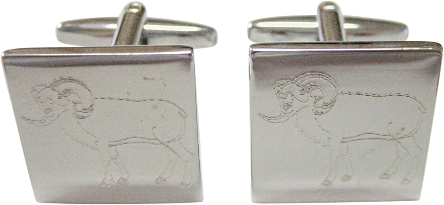 Silver Toned Etched Ram Cufflinks