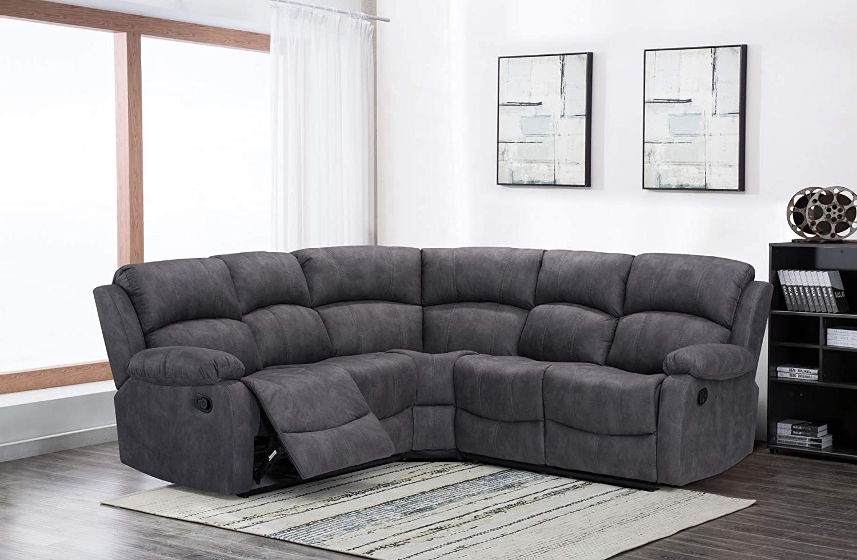 New Atara Large Grey 5 Seater Fabric Reclining Corner Sofa   Cheap Manual  Grey Recliner Sofa: Amazon.co.uk: Kitchen & Home