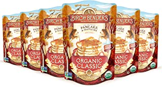 product image for Birch Benders Organic Pancake and Waffle Mix, Classic Recipe, Whole Grain, Non-GMO, Just Add Water, 96 Ounce Family Pack (16oz 6-pack)