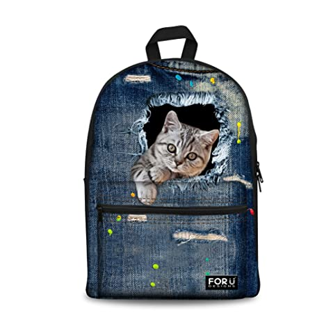 Amazon.com | Bigcardesigns Kitty Pet Canvas DIY Bookbag Backpack Schoolbag Girls | Kids Backpacks