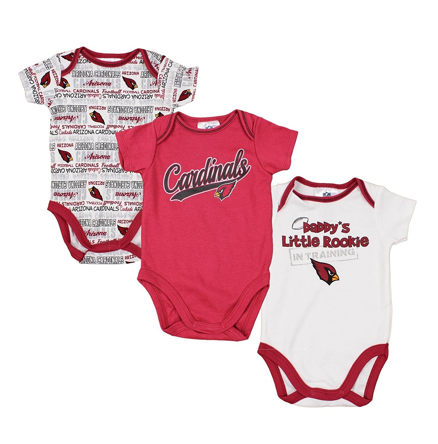 6bd4dd17065c Amazon.com  Arizona Cardinals NFL Unisex Baby Infant 3 Piece Bodysuit Set
