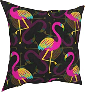 Throw Pillow Covers 18x18, Hipster Colorful Flamingo Bird Decorative Pillow Covers for Couch, Sofa and Bed, Super Soft and Luxury Pillow Cases Covers, Square Pillow Covers