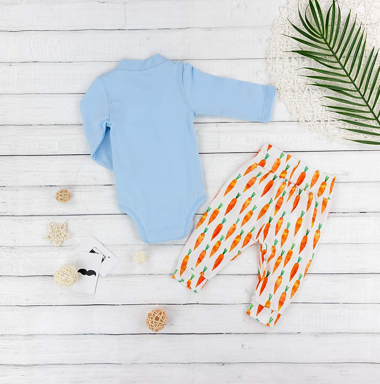 Baby Boys My 1st Easter Romper Long Sleeve Bodysuit Radish Pants Outfit 3PCs Sets