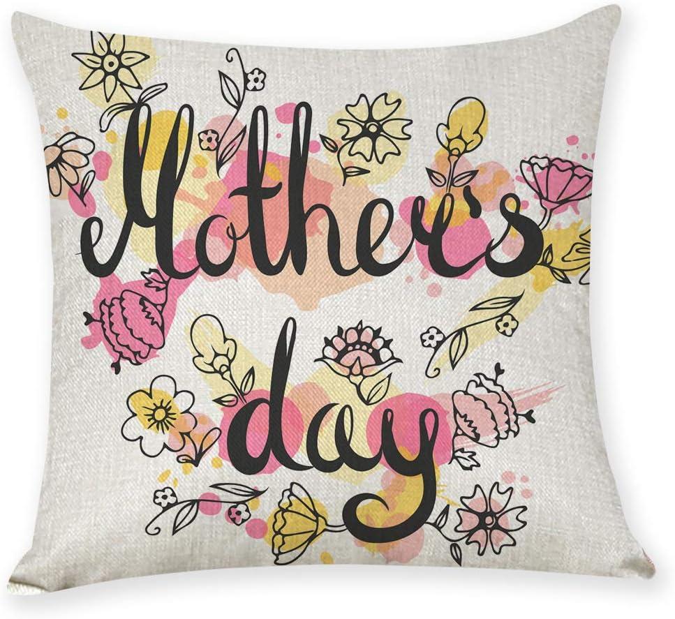happymxwx Dos Paquetes de Regalo para el Coche del Día de la Madre Feliz 45 * 45 Funda de Almohada de Lino E,Fundas de cojín cuadradas de Lino Decorativas, para sofás o Camas Juego