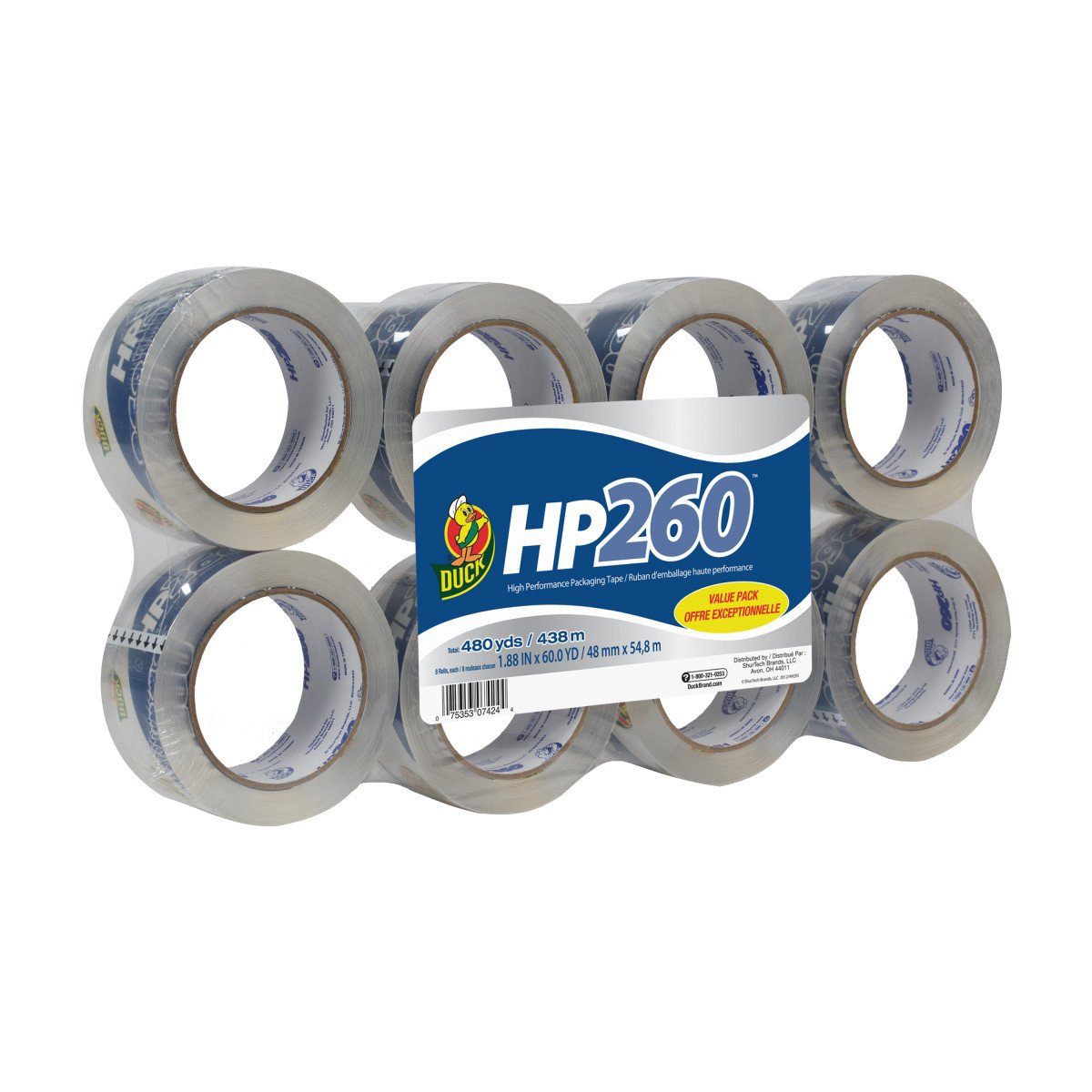 Duck HP260 Packing Tape Refill, 8 Rolls, 1.88 Inch x 60 Yard, Clear (1067839) by Duck (Image #1)