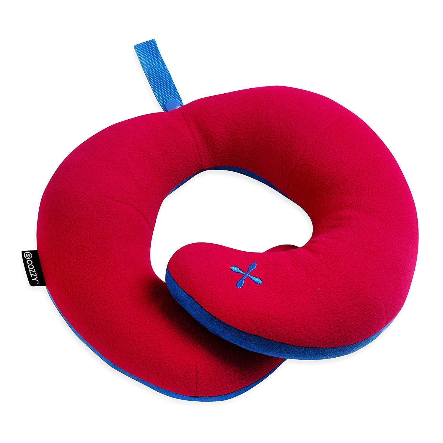 BCOZZY Chin Supporting Travel Pillow - Supports The Head, Neck and Chin in in Any Sitting Position. A Patented Product. (RED, Child)