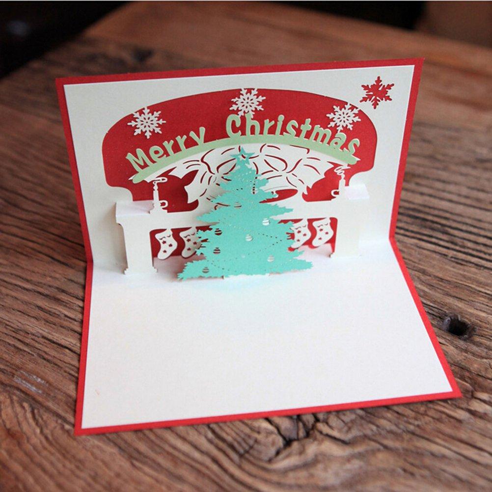 LUOEM Weihnachtskarten Pop Up Gruß Karten Weihnachtsbaum Pop-up ...
