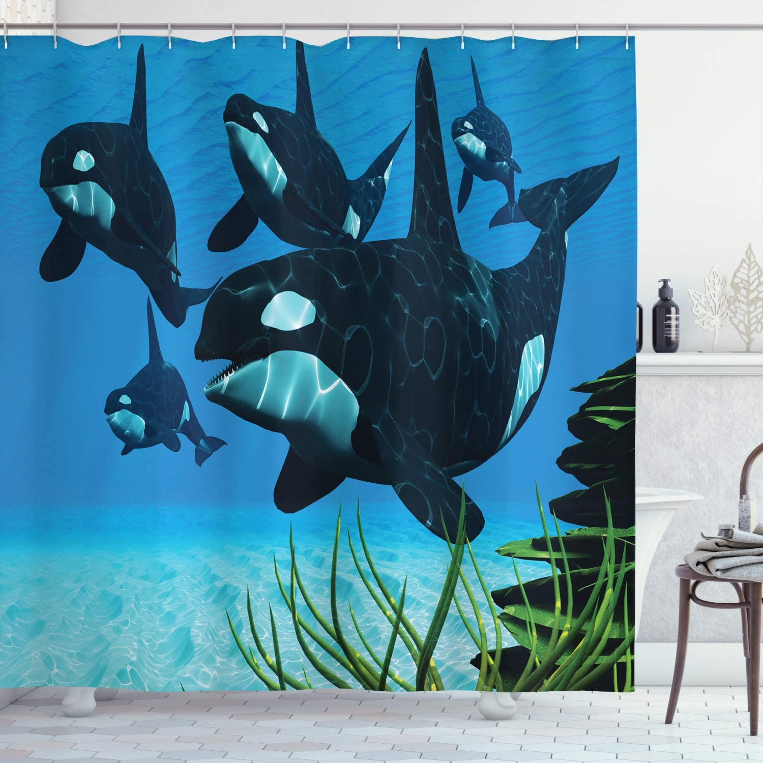Ambesonne Whale Shower Curtain, Pod of Killer Whales Swim Along a Reef Looking for Fish Prey Ocean Picture Print, Cloth Fabric Bathroom Decor Set with Hooks, 70