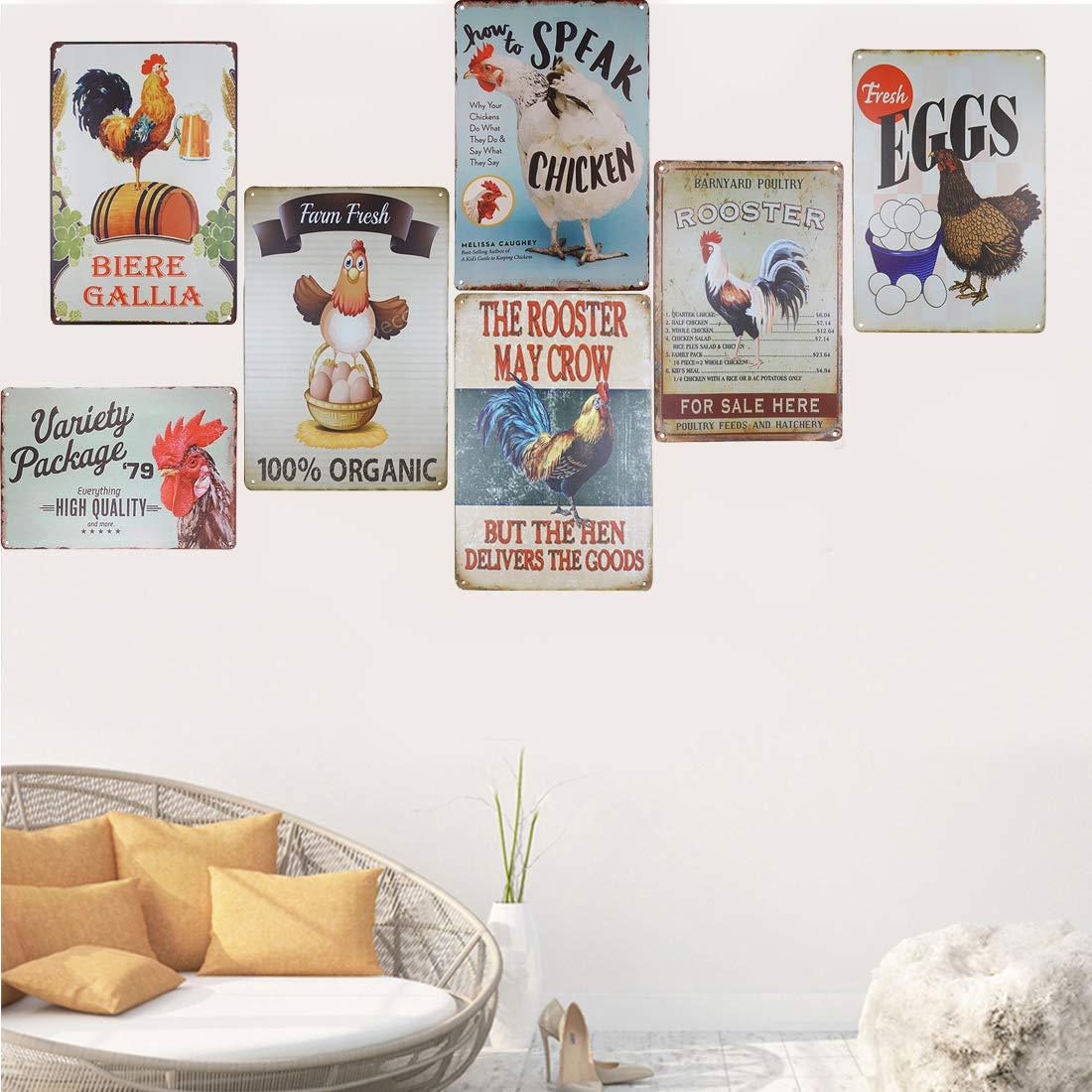 TISOSO Farm Fresh Eggs Retro Vintage Metal Tin Signs Rustic Farmhouse Country Wall Art Sign 8 X 12 Inches