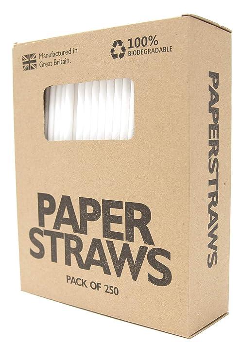 Pajitas de Papel, biodegradables, Paquete de 250 pajitas para ...