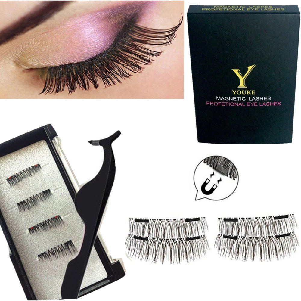 Long Dual Magnetic Eyelashes Plus Tweezers , 0.2mm Ultra Thin Two Magnets False Eyelashes, 3D Reusable Fake Lashes, Natural Look 1 Pair / 4 Pieces Youke